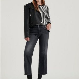LUCKY BRAND Mid Rise Crop Wide Leg Jeans